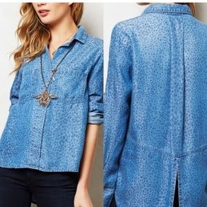 Cloth & Stone chambray leopard top, size S